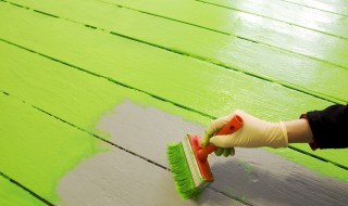 Peinture pinceau terrasse verte extérieur gant fin travaux rénovation